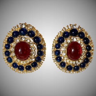 Red,White &  Blue Gold Tone w/ Cabochon,Rhinestone Clio on Earrings WOW!