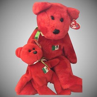 """Ty 1990's """"OSITO"""" Beanie Baby & Buddy Mexican Flag Teddy Bears NOS"""