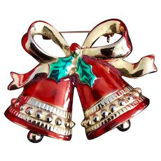 Vintage Holiday Enamel Bells w/ moveable parts Brooch