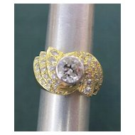 Unique Lady's 18K Yellow Gold 2+ Carat Diamond Ring