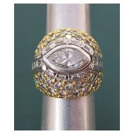 Custom Design Lady's 18K Gold & Platinum 3.39 Carat Diamond Ring