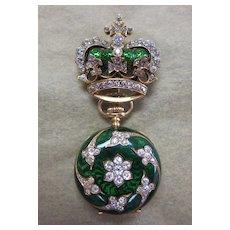 Antique Lady's 18K Gold, French Enamel & Diamond Encrusted Watch Holder & Watch