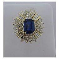 Lady's Sapphire & Diamond 14 kt. Yellow Gold Ring