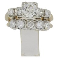 14K Yellow Gold 2 Plus Carat Bridal Set - 1.12 VVS Center