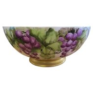 Hand Painted Limoges Punch Bowl  with Grapes - Circa 1898