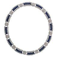 Awesome 18K White Gold 36.98 Carat Sapphire & 8.21 Carat Diamond Necklace!!