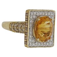 14K Yellow Gold Lady's VS Diamond and Citrine Lady's Ring