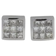 Lady's 14K White Gold 3 Carat Earrings