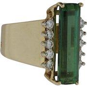 Lady's 14K Yellow Gold Diamond and Tourmaline Ring
