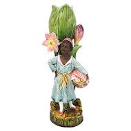 Rare Figural Majolica Vase - Black Young Man