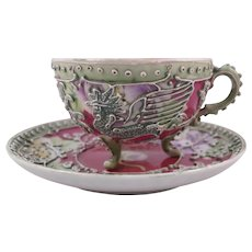 Nippon Red Background Moriage Rooster Footed Cup & 2 Saucers