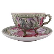 Nippon Red Moriage Rooster Footed Cup & 2 Saucers
