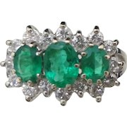 Lady's 14KT White Gold VS Emerald and Diamond Ring