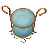 Lovely Palais Royale Blue Opaline Trinket / Vanity Piece