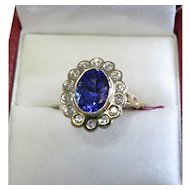 Lady's 14K Yellow Gold Tanzanite & Diamond Ring