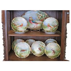 Beautiful Hand Painted Limoges Game Bird Set - Excellent