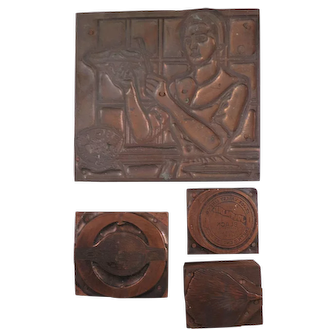 Set of Four Vintage Wood & Copper Printer's Blocks