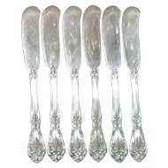 Six Alvin Chateau Rose Solid Sterling Butter Knives- No Monogram