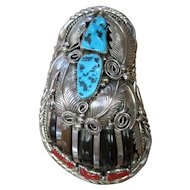 Navajo Indian Turquoise &Coral Sterling Silver Faux Bear Claw Bolo Clip Thomas