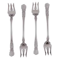 "Four Gorham Buttercup Sterling Silver 5 5/8"" Cocktail - Seafood Forks - Old Mark"