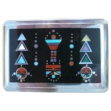 Navajo Native American Artist Jim Harrison Sterling Micro Inlaid Belt Buckle