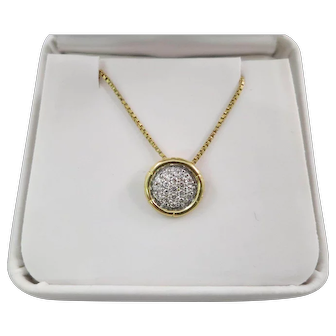 "John Hardy 18K Yellow Gold and VVS Diamond Bamboo Pendant & 18"" Chain"