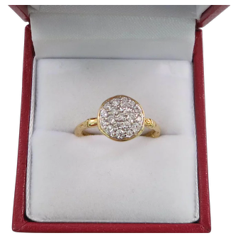John Hardy 18K Yellow Gold and VVS Clarity Diamond Bamboo Design Ring