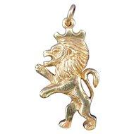 James Avery 14 K Yellow Gold Rare Lion Rampart Pendant / Charm