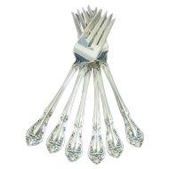 Lot of (6) Alvin Chateau Rose Sterling Silver Salad/Dessert Forks