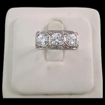 Lady's Platinum & 1.5 Plus Carat 3 Diamond Ring