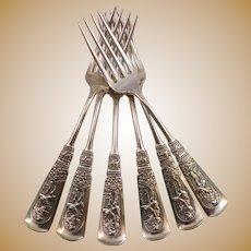 """Six Fontainebleau by Gorham Sterling Silver Regular Forks 6 3/4"""""""