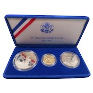 1986 United States Liberty Coins Proof Gold Silver Dollar 3pc Commemorative Set