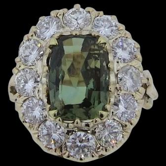 Gorgeous Alexandrite & VS Diamond Ring