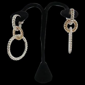 Beautiful John Hardy 18K & Sterling Silver 3 Part Earrings