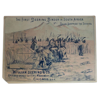 Combination Trade Card & Black Memorabilia William Deering & Co. Zulu Card