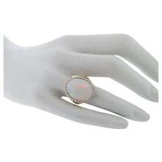 Gorgeous 6.25 Carat Opal & VS Diamond Ring