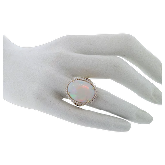 Gorgeous 6.25 Carat Opal & VS Diamond Ring