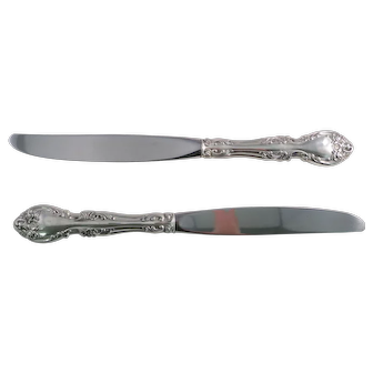 "Two Gorham MELROSE Sterling Silver Handled 9 5/8"" Modern Dinner Knives"