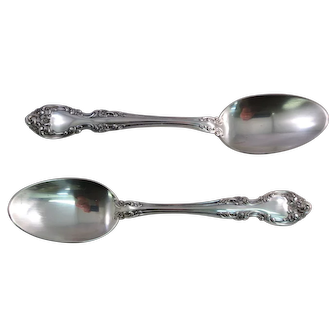 "Two Gorham MELROSE Sterling Silver Oval 6 7/8"" Dessert / Soup Spoons"