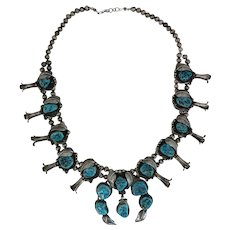 Native American Silver and Turquoise Squash Blossom Necklace
