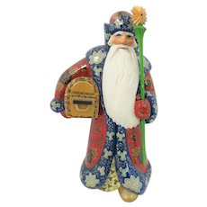 """Huge 11 1/2"""" Tall Russian SANTA Wood Hand Carved Hand Painted"""
