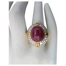 18K Yellow Gold 13.35 Carat Cabochon Ruby &  4.20 Carat VS Clarity & G Color Diamond Ring
