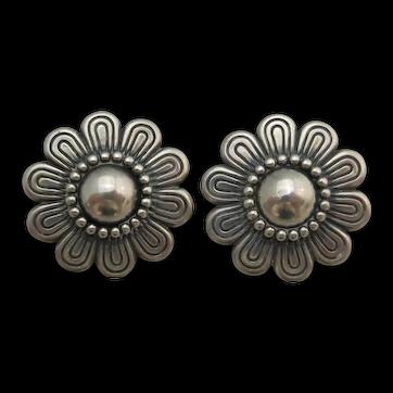 Retired James Avery Sterling Silver Flower Clip On Earrings