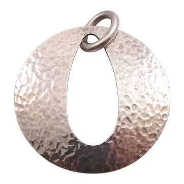 Retired James Avery Hammered Sterling Silver Work Open Pendant