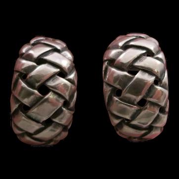 Retired James Avery Sterling Silver Basket Weave Design Earrings