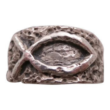 Retired James Avery Sterling Silver Textured Ichthus (Fish) Man's Band