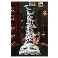 Large Moriage Candlestick with Handpainted Florals