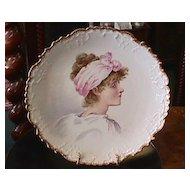 Limoges Handpainted Portrait Plaque - Pre 1891