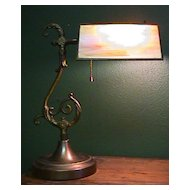 Brass & Slag Glass Desk Lamp
