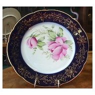 Limoges Cobalt Blue & Gold Plate with Handpainted Roses #2